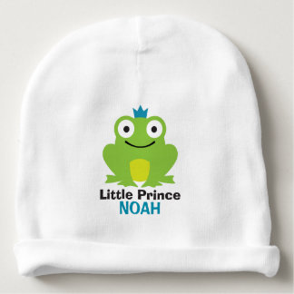 Cute frog with crown and personalized baby name baby beanie