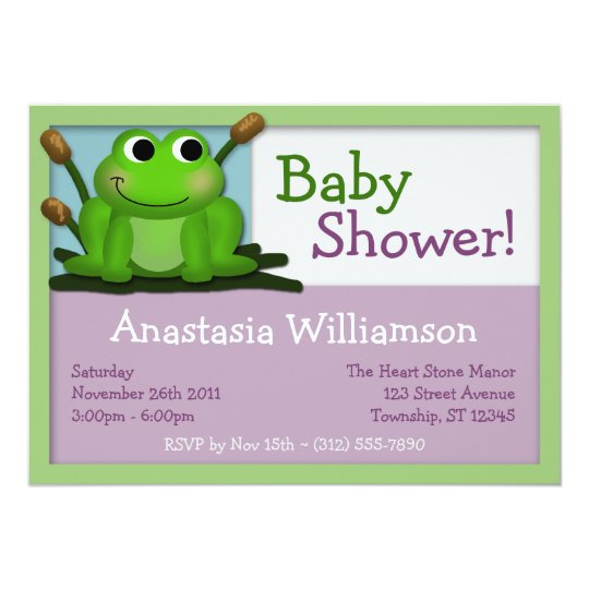 Cute Froggy Colourful Baby Shower Invitations