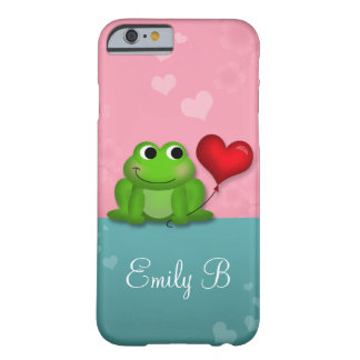 Cute Froggy Heart Balloon Pink Teal iPhone 6 Case Barely There iPhone 6 Case