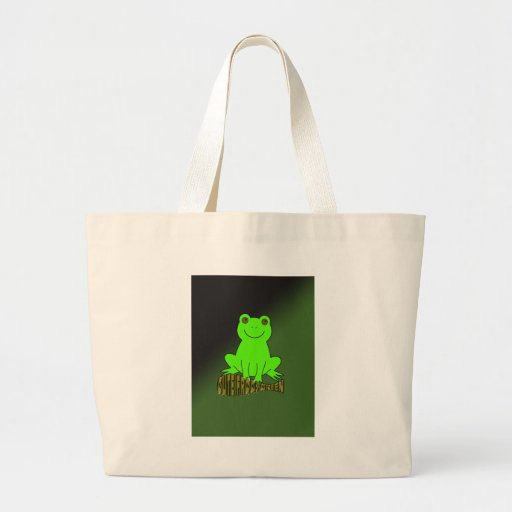 Cute Frogs Green With Background Canvas Bags