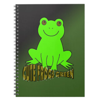 Cute Frogs Green With Background Notebook