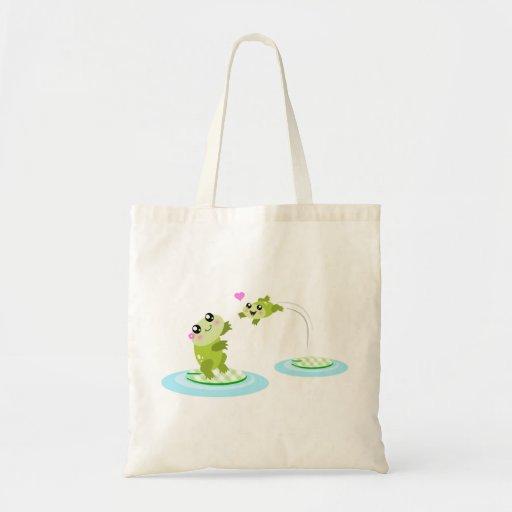 Cute frogs - kawaii mom and baby frog cartoon tote bag