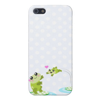 Cute frogs - kawaii mom and baby frog cartoon iPhone 5 cover