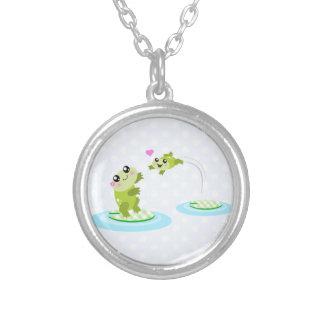 Cute frogs - kawaii mom and baby frog cartoon jewelry