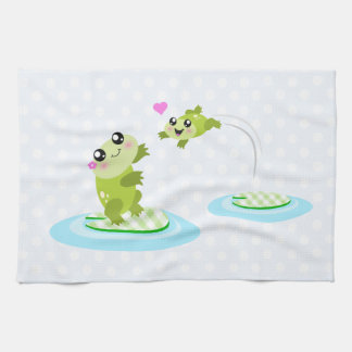 Cute frogs - kawaii mom and baby frog cartoon tea towel