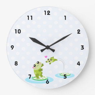 Cute frogs - kawaii mother and baby frog large clock