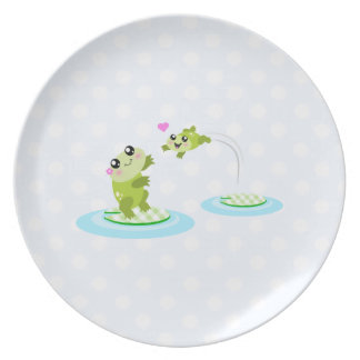 Cute frogs - kawaii mother and baby frog plate