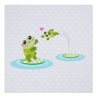 Cute frogs - kawaii mother and baby frog poster