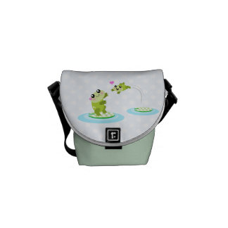 Cute frogs - kawaii mother and child frog messenger bag