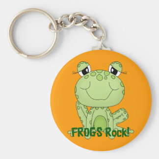 Cute Frogs Rock Love Frog Products Basic Round Button Key Ring