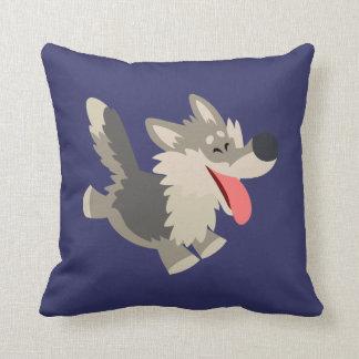 Cute Frolicsome Cartoon Wolf Pillow