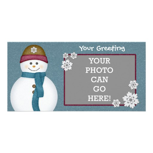 Cute Frosty Snowflakes Snowman Winter Ice Cold Personalized Photo Card
