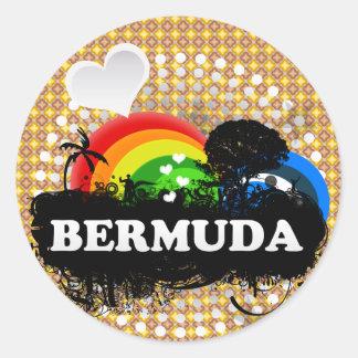 Cute Fruity Bermuda Round Stickers