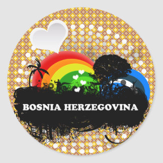 Cute Fruity Bosnia Herzegovina Round Sticker