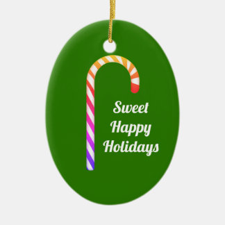 Cute Fruity Candy Cane Sweet Holidays Ornament