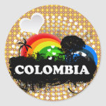 Cute Fruity Colombia Round Stickers
