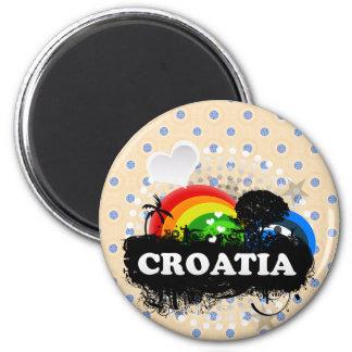 Cute Fruity Croatia 6 Cm Round Magnet