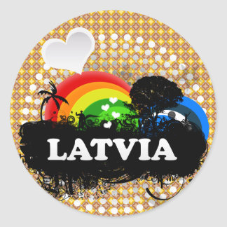 Cute Fruity Latvia Classic Round Sticker