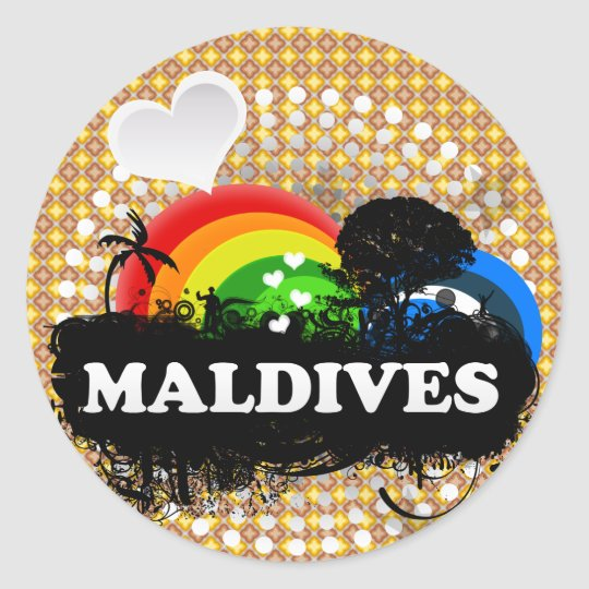 Cute Fruity Maldives Classic Round Sticker