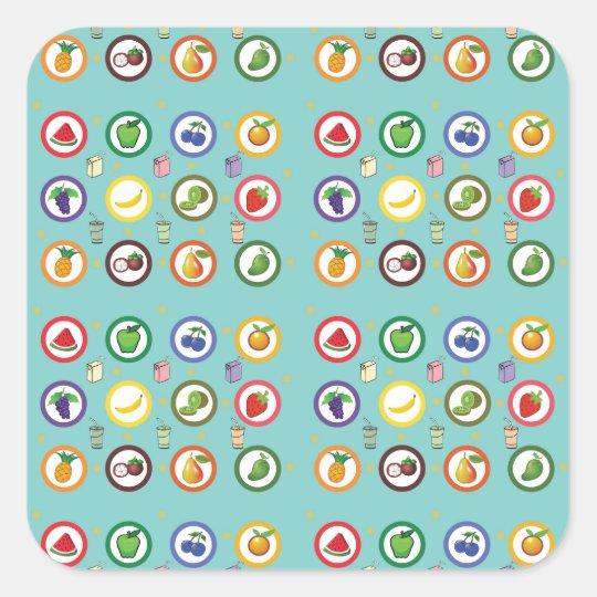 Cute Fruity Pattern Square Sticker