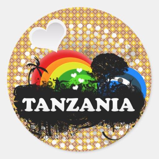Cute Fruity Tanzania Round Stickers