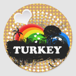 Cute Fruity Turkey Round Sticker