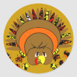 Cute Full Colour Turkey Round Stickers