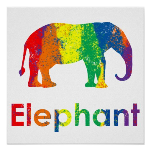 Cute, Fun and Colourful Abstract Rainbow Elephant Poster