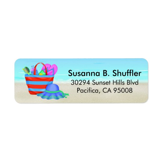 Cute Fun Beach Bag Tote Hat Return Address Label