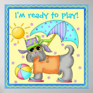 Cute Fun Beach Dog Personalized Yellowow Poster