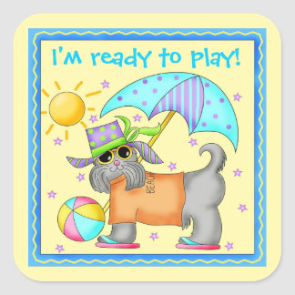 Cute Fun Beach or Pool Dog Personalized Yellowow Square Sticker