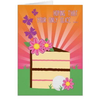 Cute & Fun Birthday Slice for Lady Golfer Card