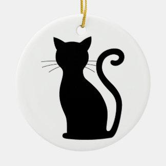 Cute Fun Black Cat Silhouette Christmas Ornament