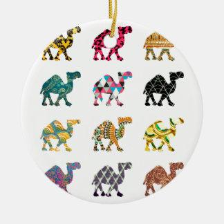 Cute fun camels round ceramic decoration