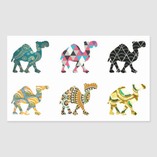 Cute fun camels rectangular sticker