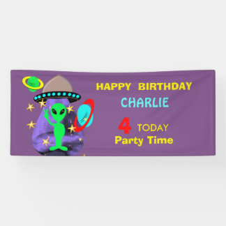 Cute Fun Cartoon Alien In Outer Space Personalised Banner