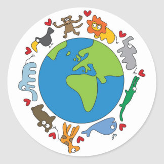 Cute Fun Cartoon Animals Of The World Earth Classic Round Sticker