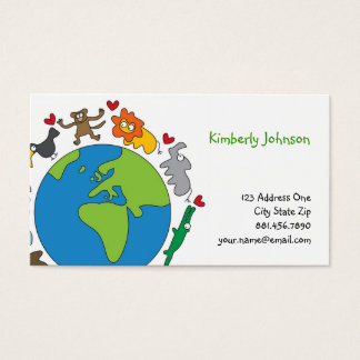 Cute Fun Cartoon Animals of The World Profile Card