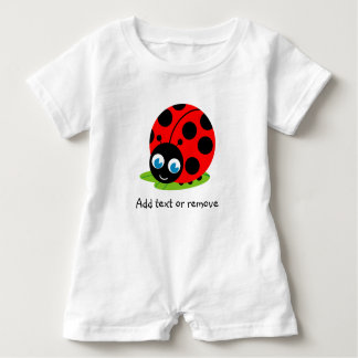 Cute fun cartoon black and red ladybug / ladybird, baby bodysuit