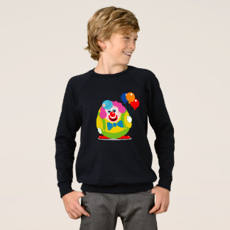 Cute fun cartoon circus clown with a big red nose, sweatshirt