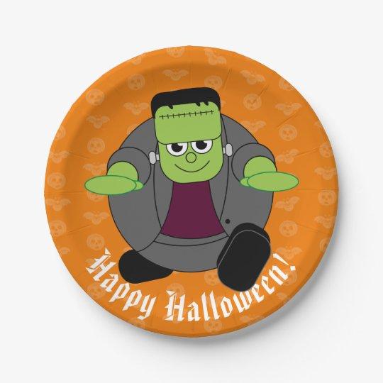 Cute fun cartoon of a green Halloween Frankenstein
