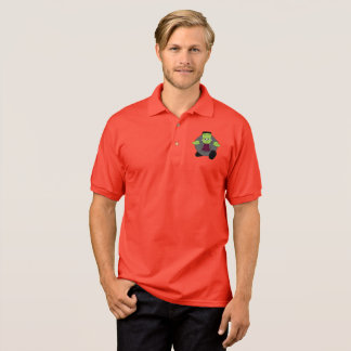 Cute fun cartoon of a green Halloween Frankenstein Polo Shirt