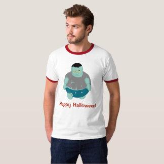 Cute fun cartoon of a green Halloween zombie, T-Shirt