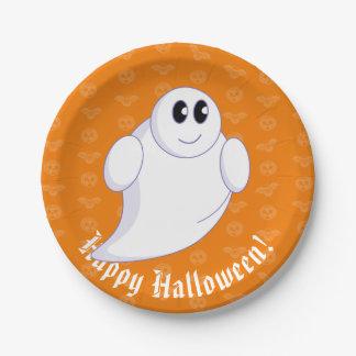 Cute fun cartoon of a Halloween ghost or ghoul, Paper Plate