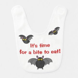 Cute fun cartoon of Halloween black vampire bats, Bib