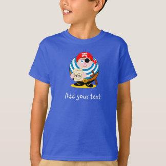 Cute fun cartoon pirate holding a treasure map, T-Shirt