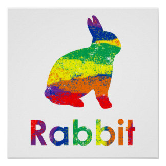 Cute, Fun, Colorful Abstract Rainbow Bunny Rabbit Poster