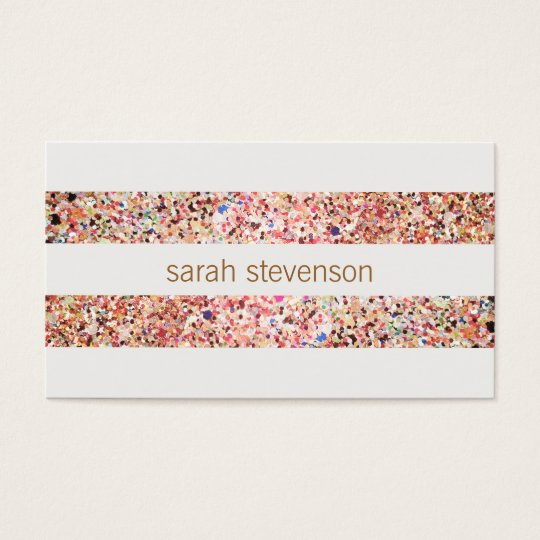 Cute Fun Colourful Confetti Stripes Business Card