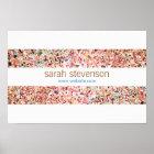 Cute Fun Colourful Confetti Stripes Poster