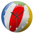 Cute Fun Colourful Striped Summer Beach Ball Large Clock